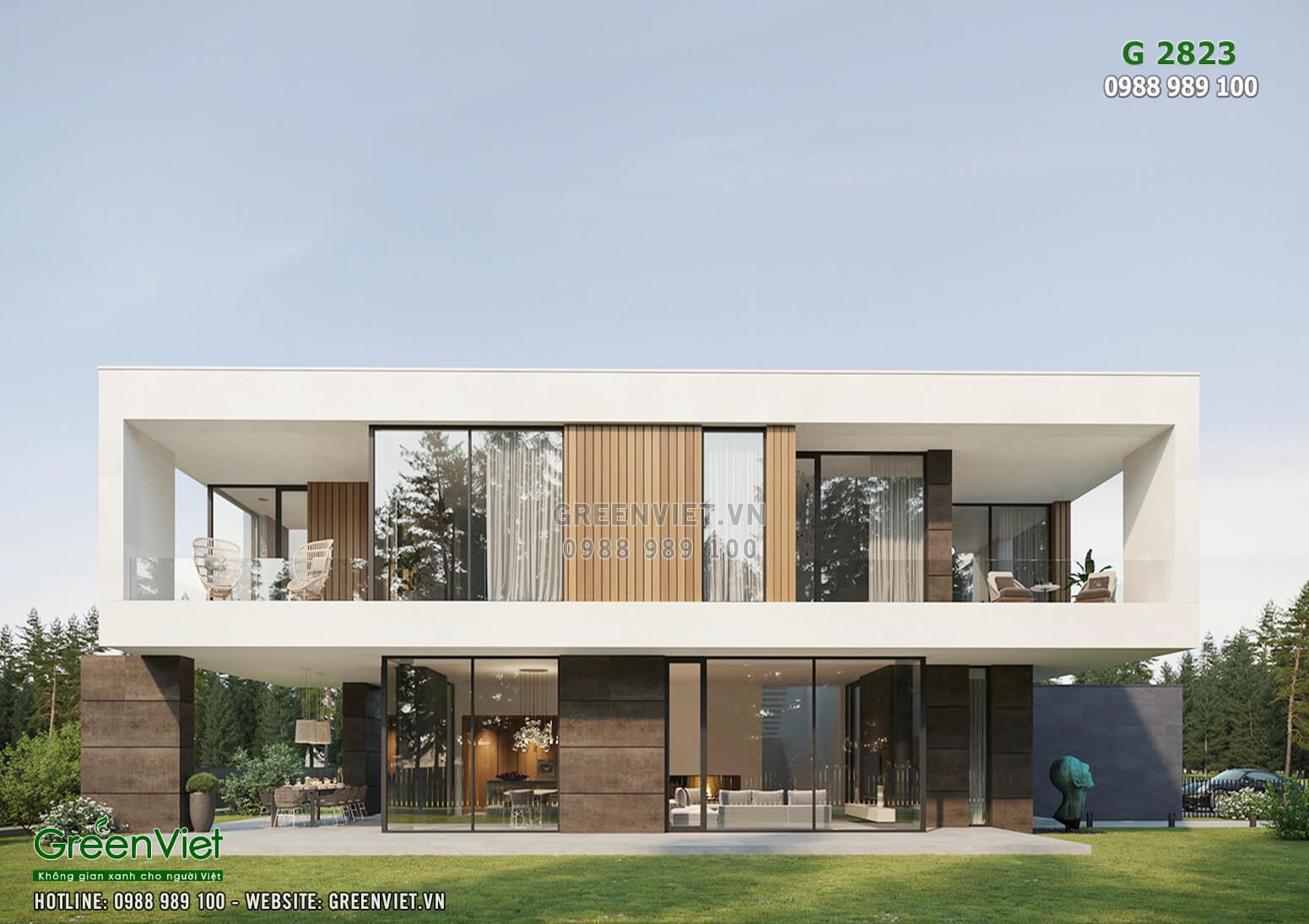 Hình ảnh: Mặt tiền mẫu thiết kế biệt thự hiện đại đẹp - G2823