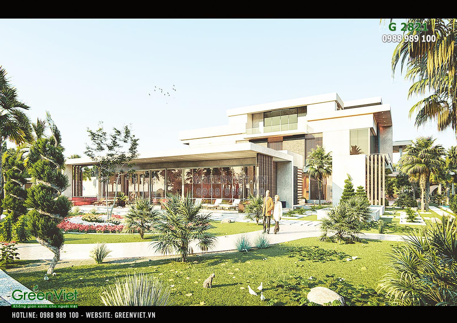 Hình ảnh: Không gian sân vườn của mẫu thiết kế Villa nghỉ dưỡng - G 2821