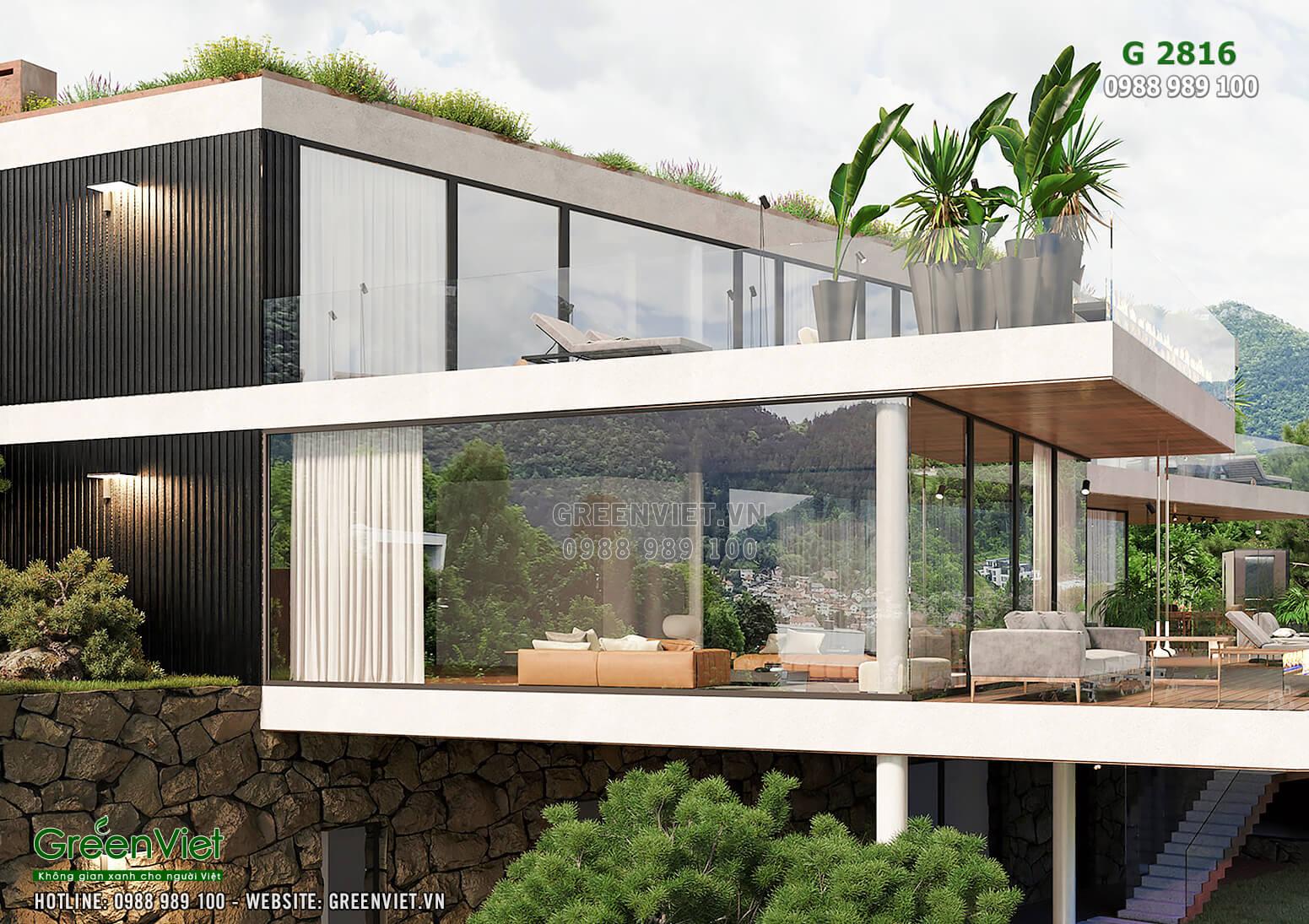 Chất liệu kính được ưu ái trong thiết kế villa hiện đại - G2816