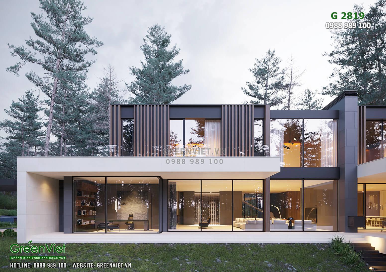Hình ảnh: Không gian kiến trúc của căn Villa 2 tầng hiện đại, sang trọng, xanh mát