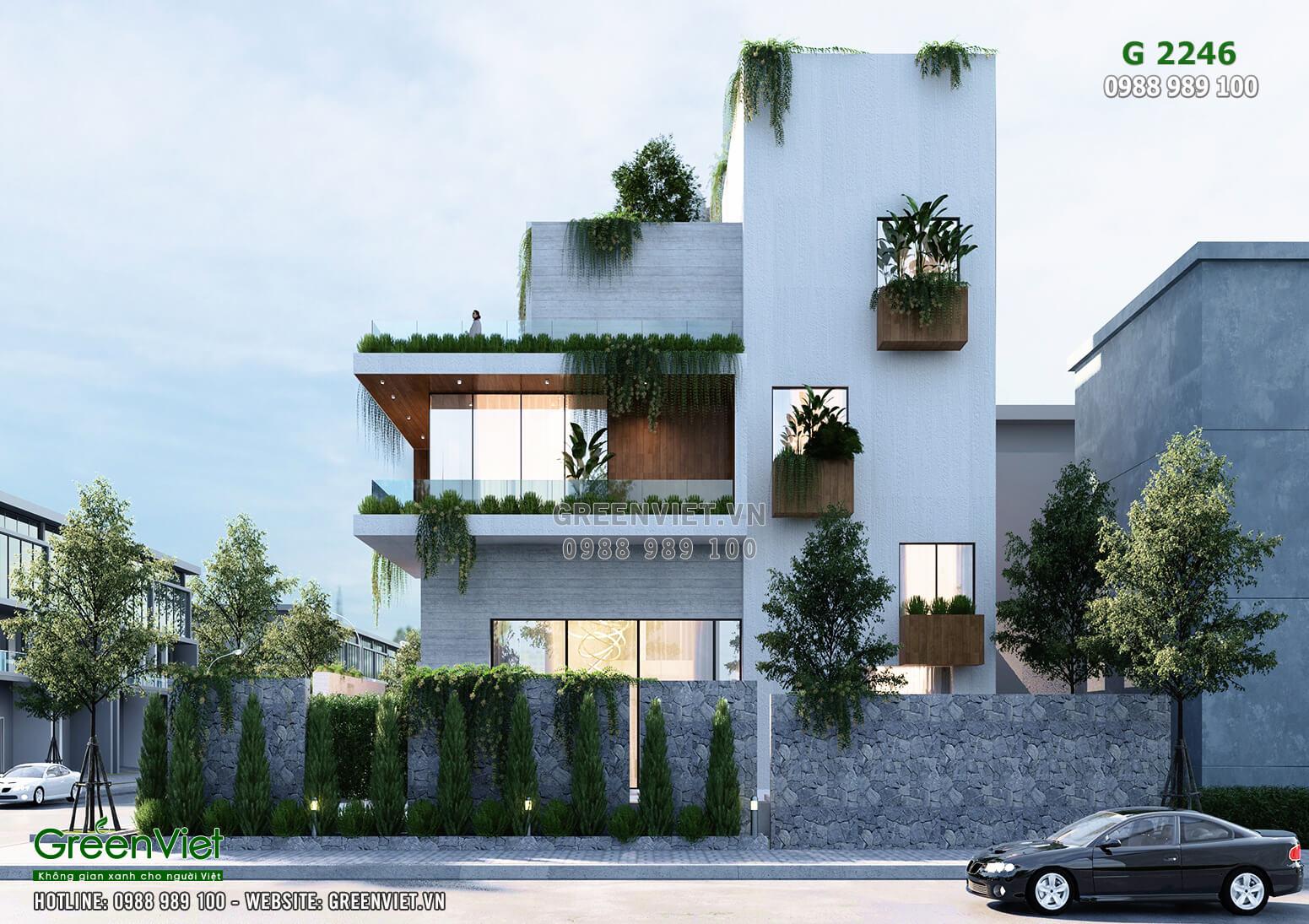 Thiết kế biệt thự hiện đại đẹp 4 tầng với không gian xanh - MS: Greenviet-2246