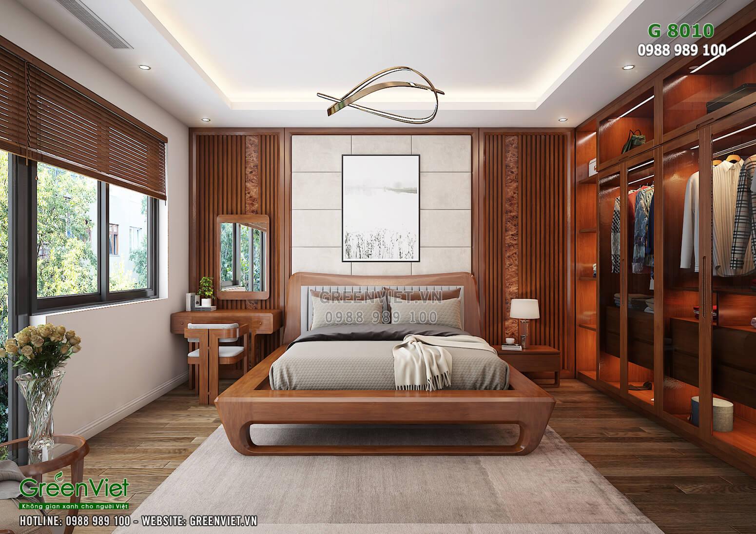 Thiết kế nội thất phòng khách hiện đại bằng gỗ óc chó